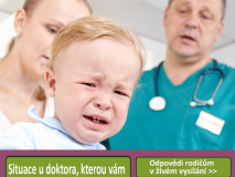 A 1,5 year-old boy is frightened and crying in a medical study. The doctor and the baby's mother are at a loss. Shallow dof. Focus is on the boy.